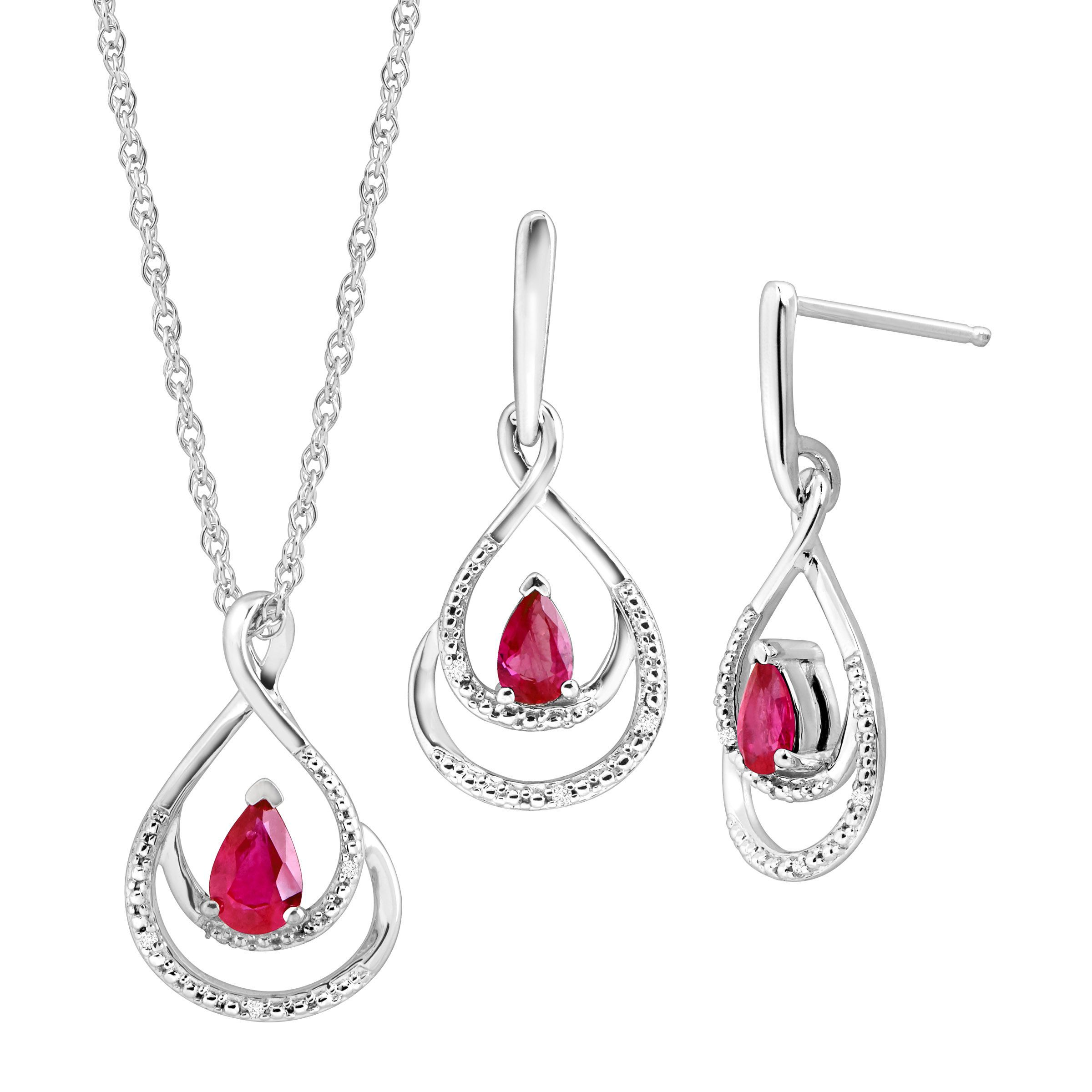 1 110 ct natural ruby pendant earrings set with diamonds in 1 110 ct natural ruby pendant earrings set with diamonds in sterling silver aloadofball Images