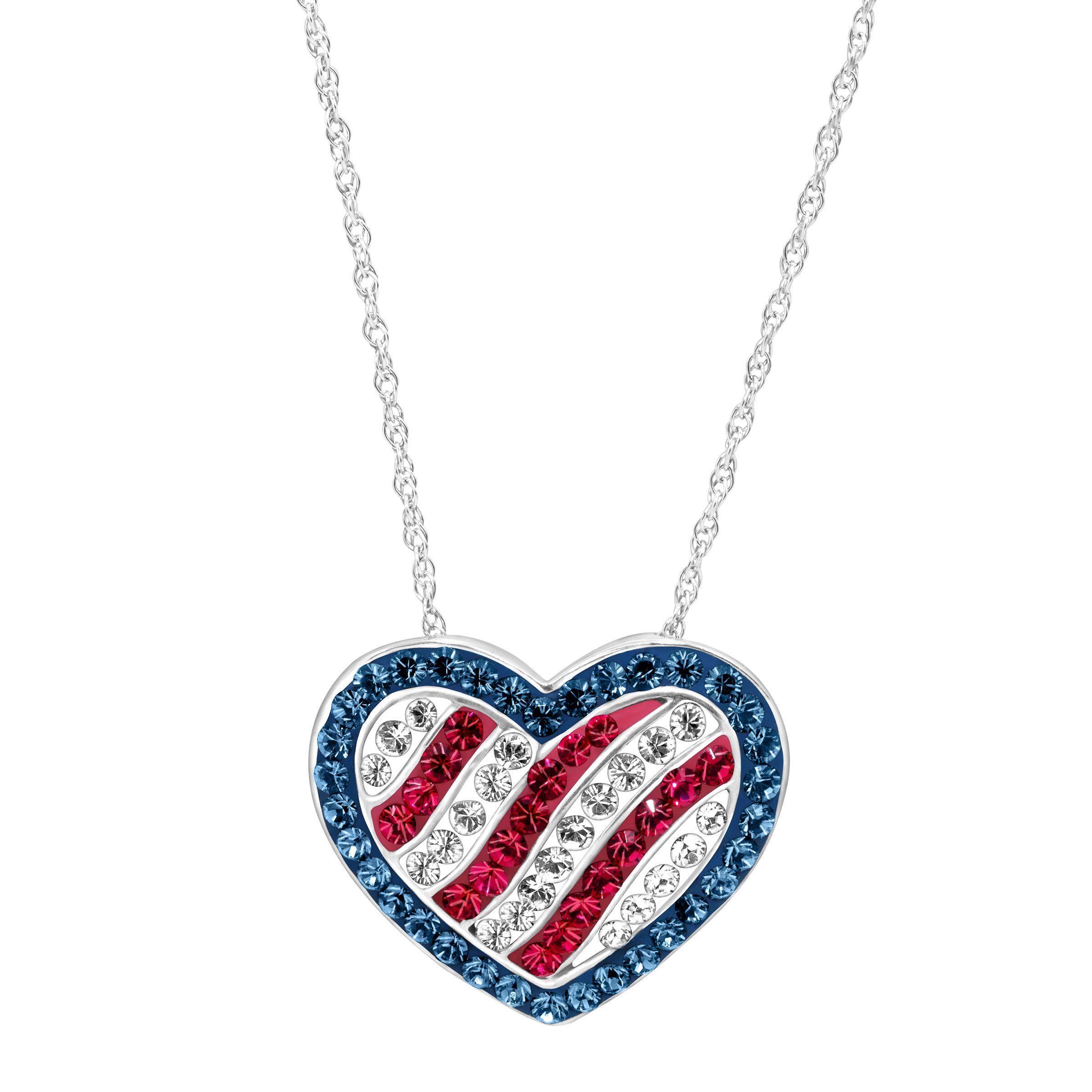 Crystaluxe american flag pendant with swarovski crystals in sterling crystaluxe american flag pendant with swarovski crystals in sterling silver aloadofball Choice Image