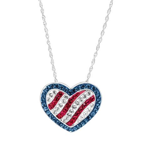 American Flag Heart Pendant with Swarovski Crystals