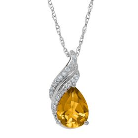1 1/2 ct Citrine Drop Pendant with Diamonds