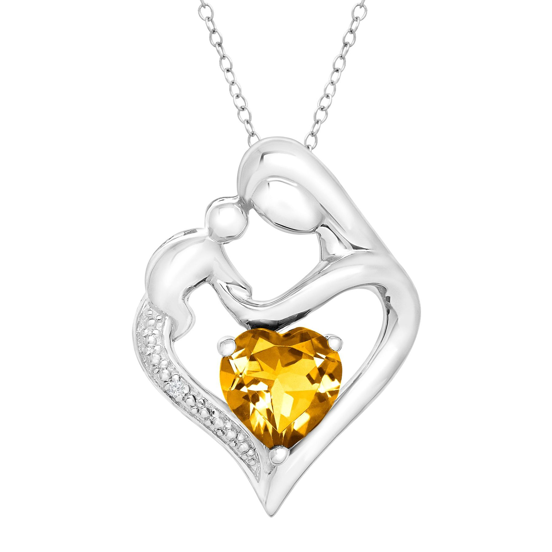 pendant silver sterling necklace and product tw mother in heart child diamond