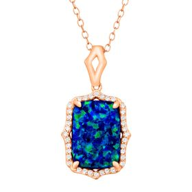 2 3/4 ct Blue Opal & White Topaz Pendant