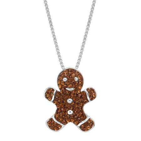 Gingerbread Man Cookie Pendant with Swarovski Crystals