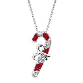 Candy Cane Pendant with Swarovski Crystals