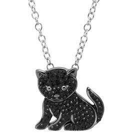 Black Cat Pendant with Swarovski Crystals
