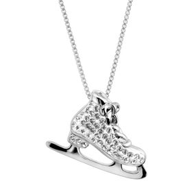 Ice Skate Pendant with Swarovski Crystals