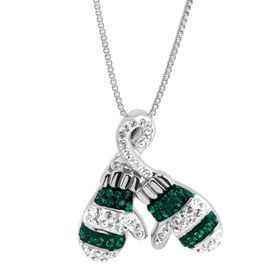 Striped Mittens Pendant with Swarovski Crystals