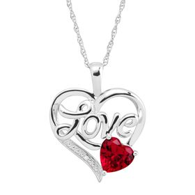 1 5/8 ct Ruby Love Heart Pendant with Diamond