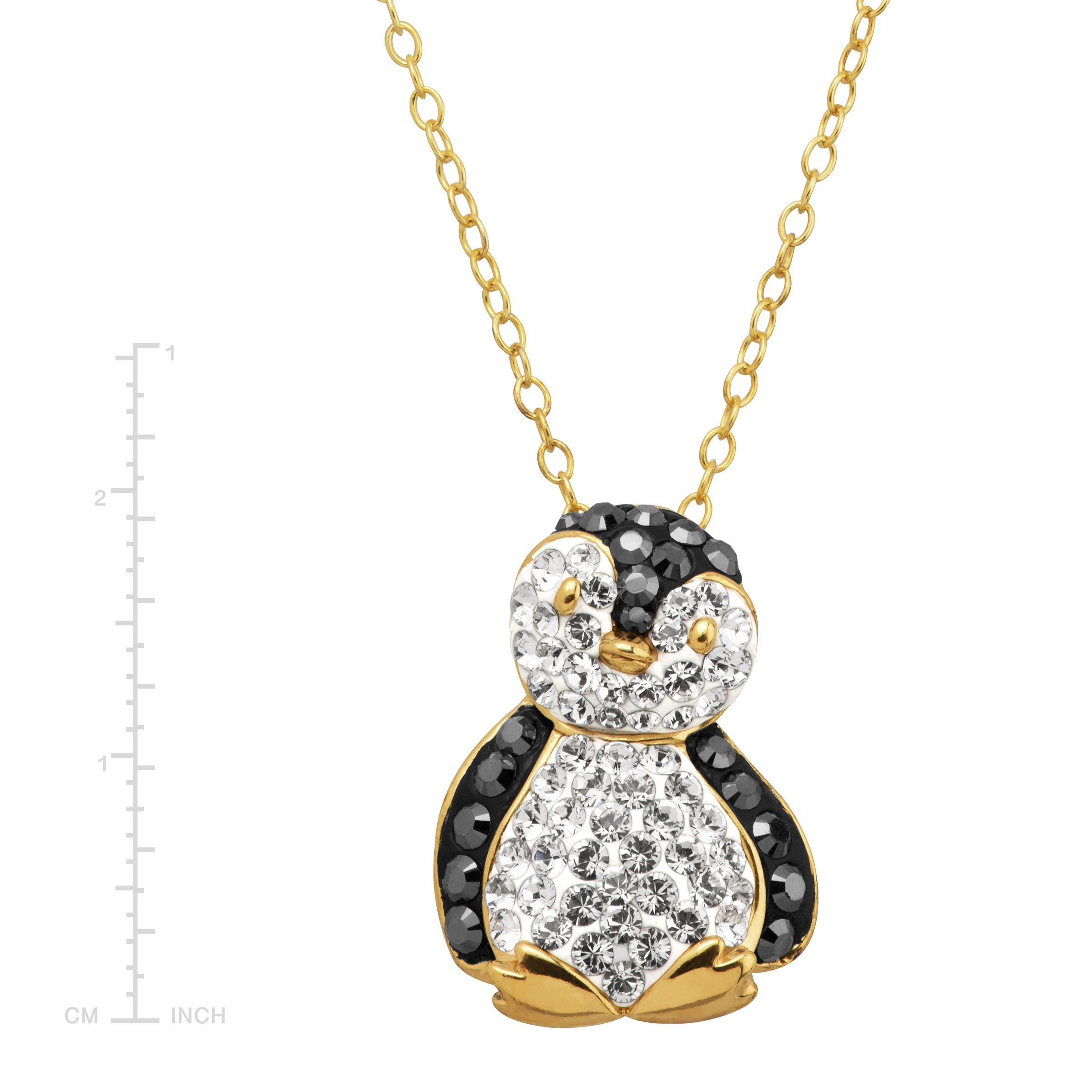 Penguin pendant with crystals in 18k gold plated silver 729367644527 penguin pendant with crystals in 18k gold plated silver aloadofball Images