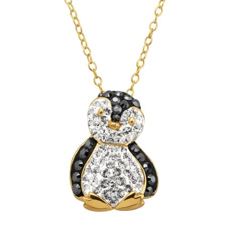 Penguin Pendant with Crystals, Yellow