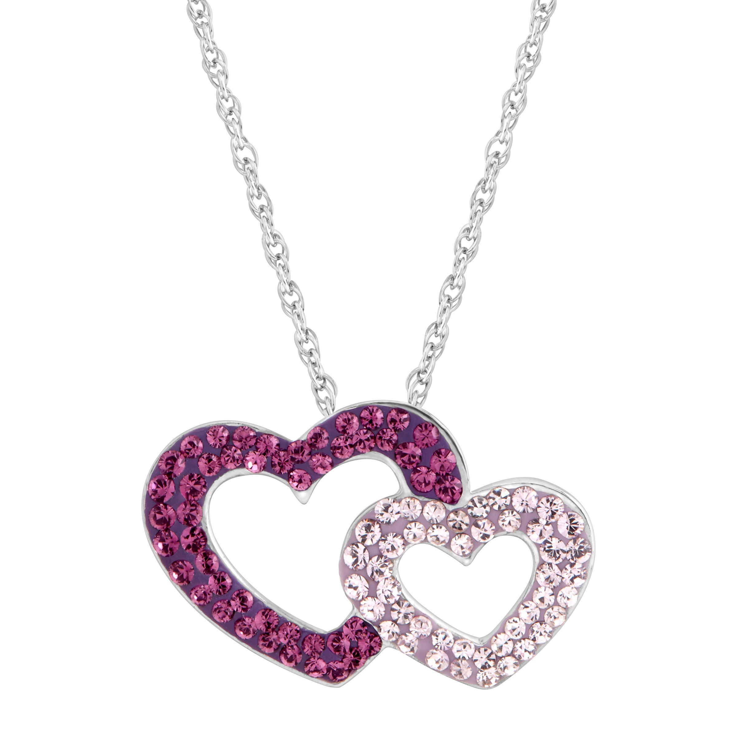 pink pin is double heart an sparkling here crystal approximately adorable charm pendant measures necklace