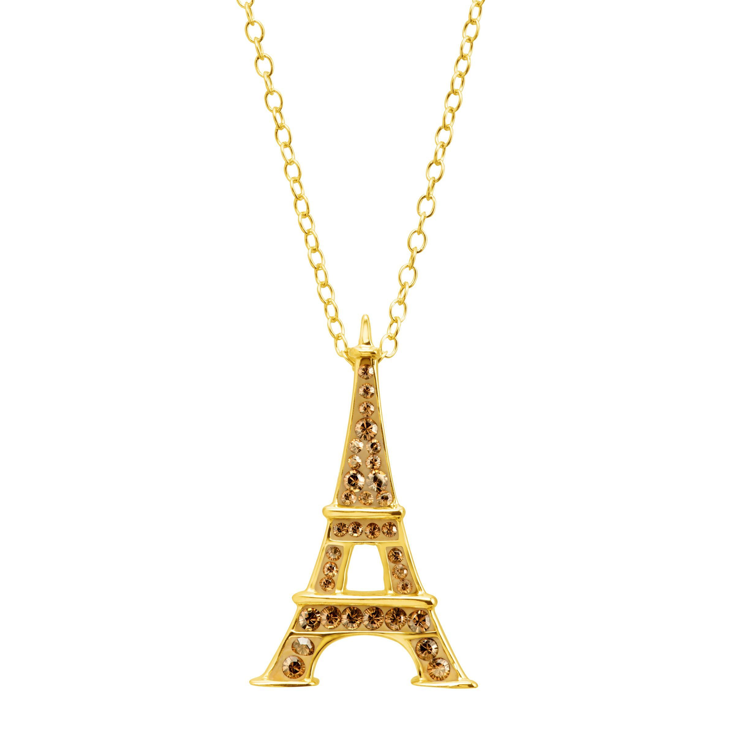fbf033db1 Crystaluxe Eiffel Tower Pendant With Swarovski Crystals 18k Gold. 14k Or ...
