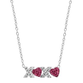 'XO' Hugs & Kisses Heart Necklace with Swarovski Crystals