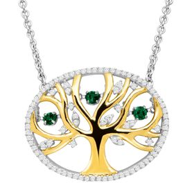 1/5 ct Emerald Tree of Love Floater Necklace with Cubic Zirconia