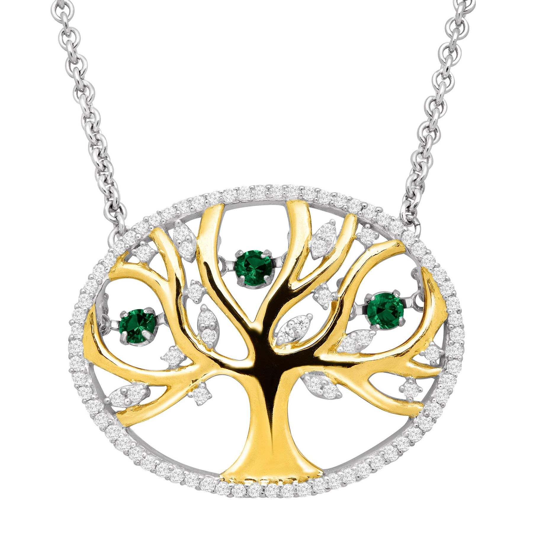 Finecraft 1/5 ct Emerald Tree of Love Floater Necklace