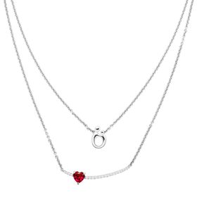 1 1/4 ct Ruby & White Sapphire Mother & Child Layered Necklace