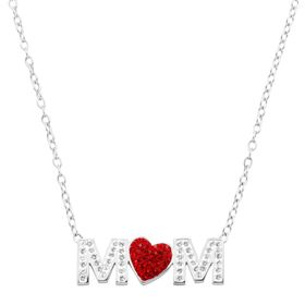 'Mom' Red Heart Necklace with Swarovski Crystals