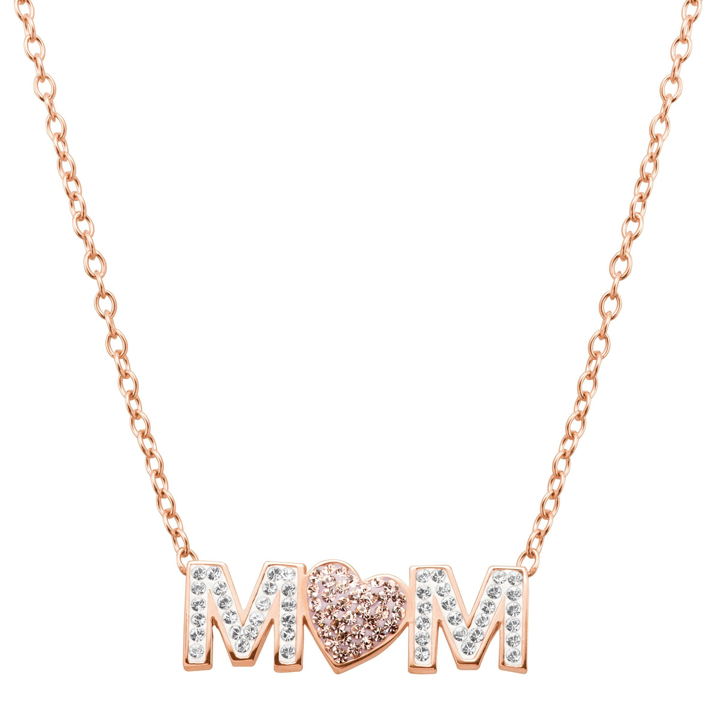 07ccbad9a Crystaluxe Mom Pink Heart Necklace Swarovski Crystals 18k Rose