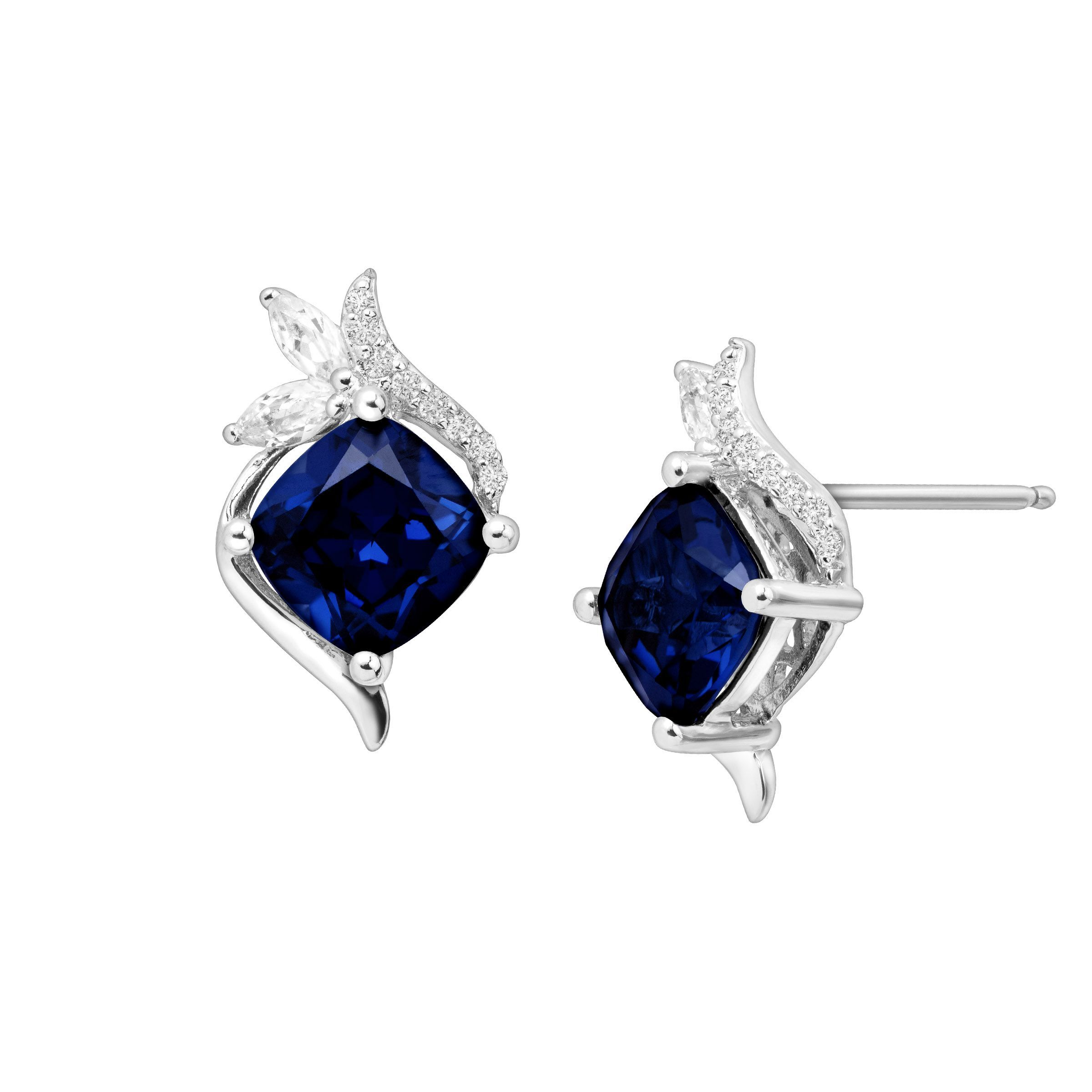 from earrings avanti gold sapphire white stud image womens round