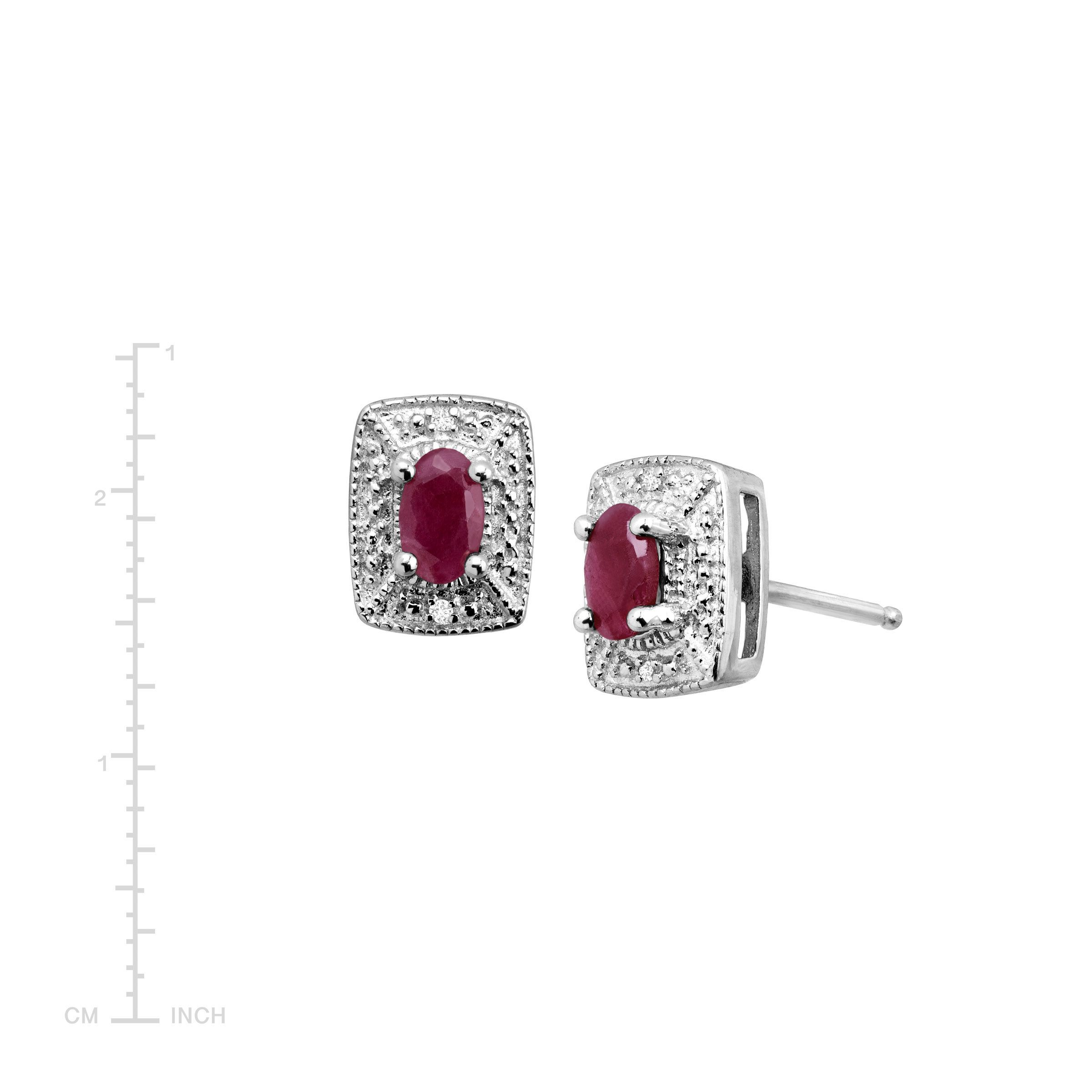 3 4 Ct Natural Ruby Stud Earrings With Diamonds In Sterling Silver