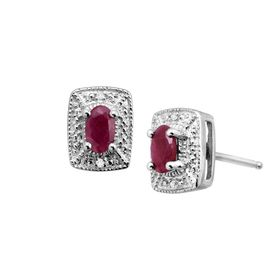 3/4 ct Ruby Earrings with Diamonds