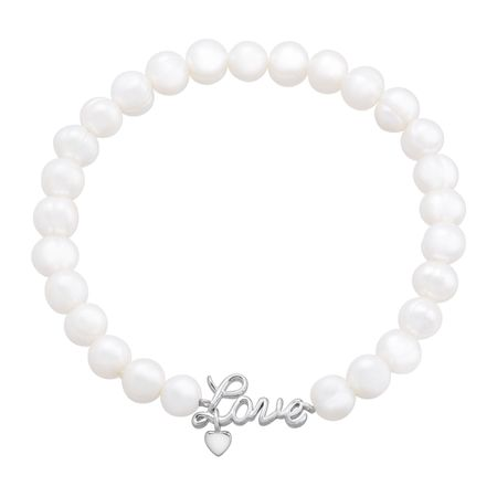 6-7 mm Pearl Stretch Bracelet with 'Love' Charm