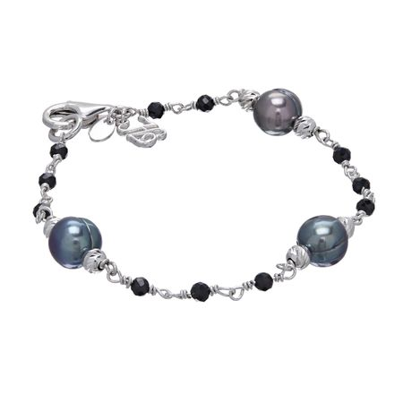 8-9 mm Peacock Pearl & Spinel Beaded Bracelet