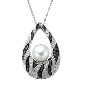 3/8 ct Diamond & Pearl Pendant