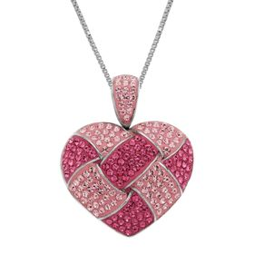 Woven Heart Pendant with Pink Swarovski Crystals