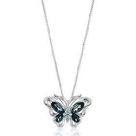 Swiss & London Blue Topaz Butterfly Pendant Necklace