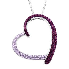 Open Heart Pendant with Purple Swarovski Crystals