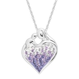 Mother & Child Pendant with Purple Swarovski Crystals