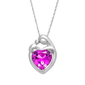 4 1/2 ct Pink Sapphire Mother & Child Pendant
