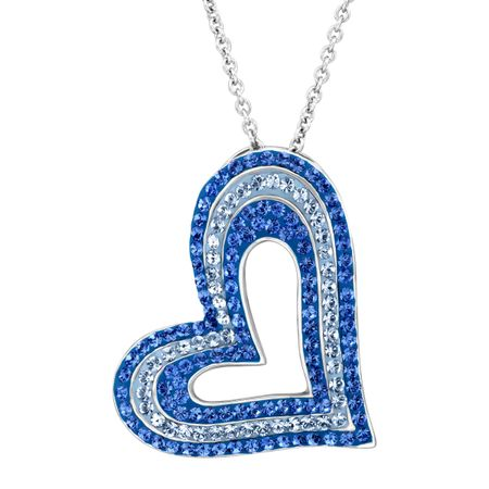Concentric Heart Pendant with Blue Swarovski Crystals