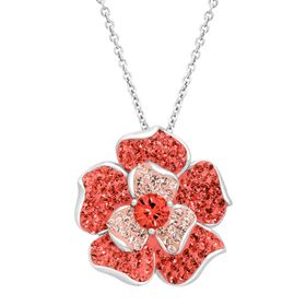Flower Pendant with Coral Swarovski Crystals