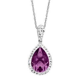 Pear-Shape Pendant with Purple Swarovski Crystals