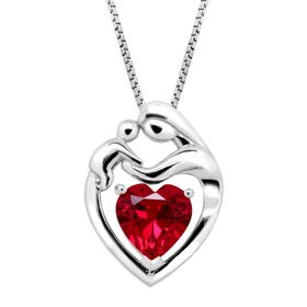 2 1/5 ct Ruby Mother & Child Pendant