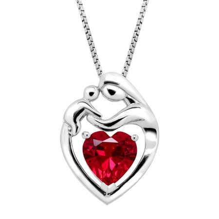 2 15 ct created ruby mother child pendant in sterling silver 2 2 15 ct ruby mother child pendant aloadofball Choice Image