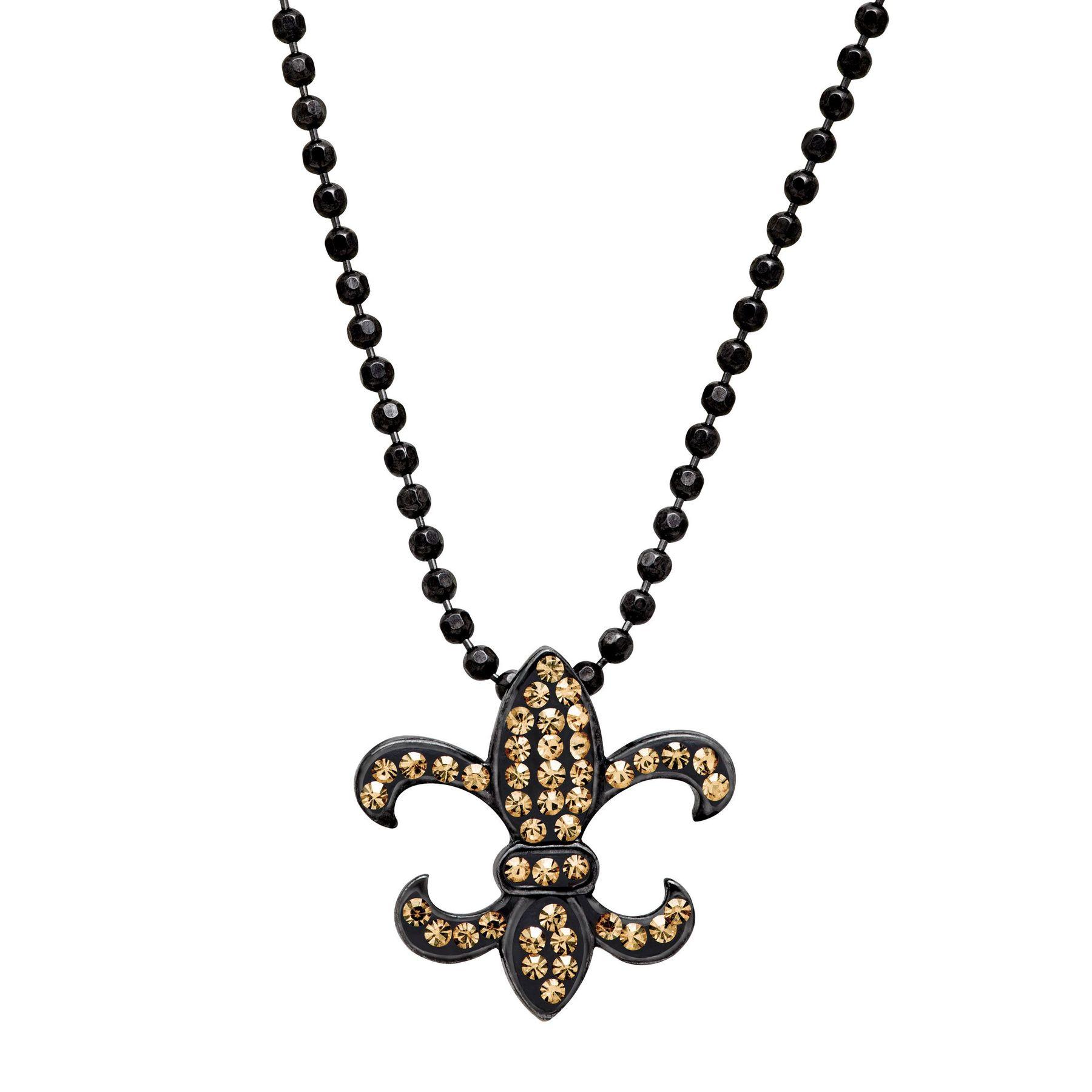Crystaluxe fleur de lis pendant with swarovski crystals in black fleur de lis pendant with swarovski crystals aloadofball Choice Image