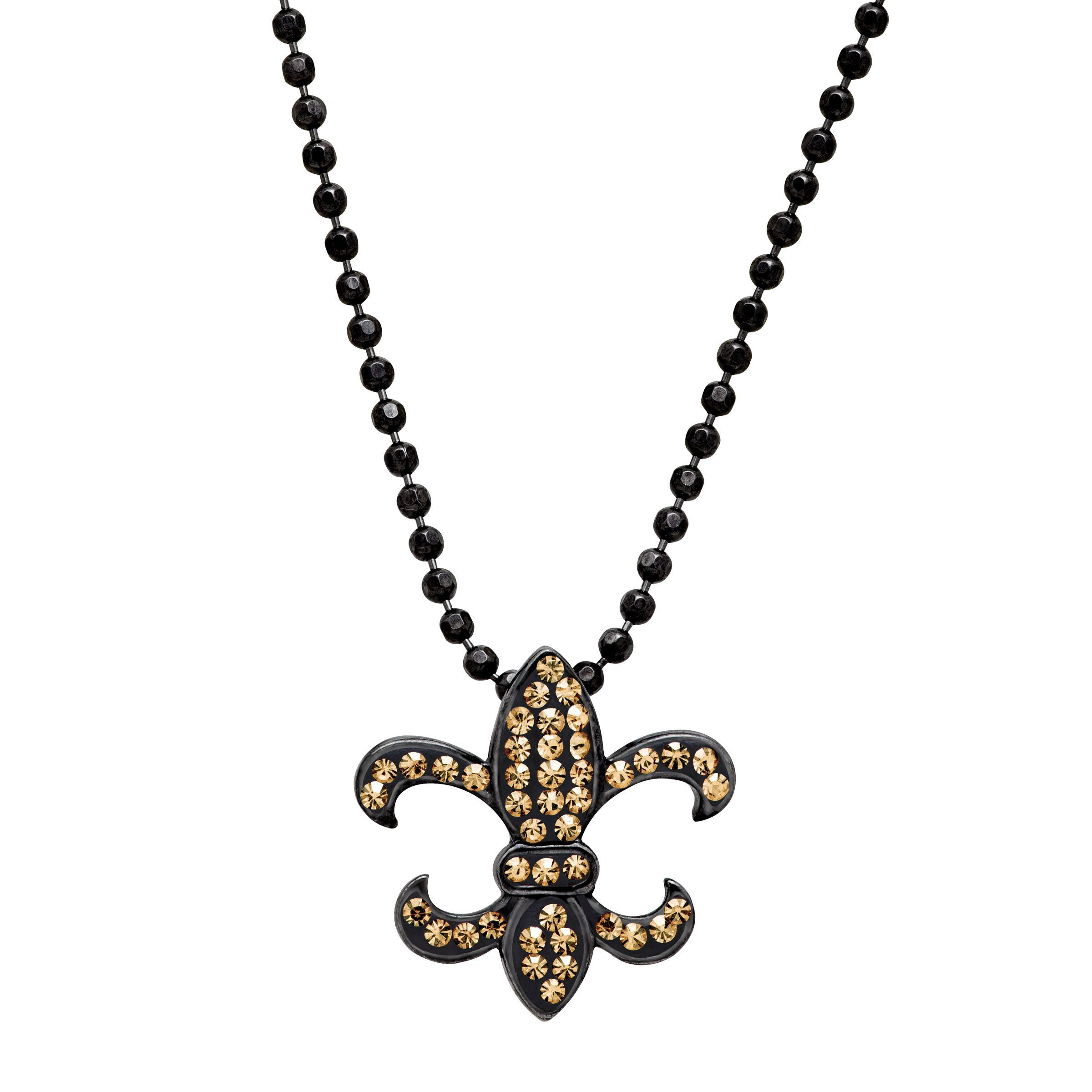 Crystaluxe Fleur-De-Lis Pendant Necklace with Swarovski Crystals in Black Rhodium-Plated Sterling Silver The Fleur-de-Lis, or  flower of the lily , has been used for centuries as a French symbol of royalty and perfection. Perfect for a princess in your life, this piece features round, golden Swarovski crystals on the face of the pendant in a setting of black rhodium over sterling silver. Piece measures 5/8 by 5/8 inches.     Comes with black rhodium over sterling silver 18-inch bead chain.