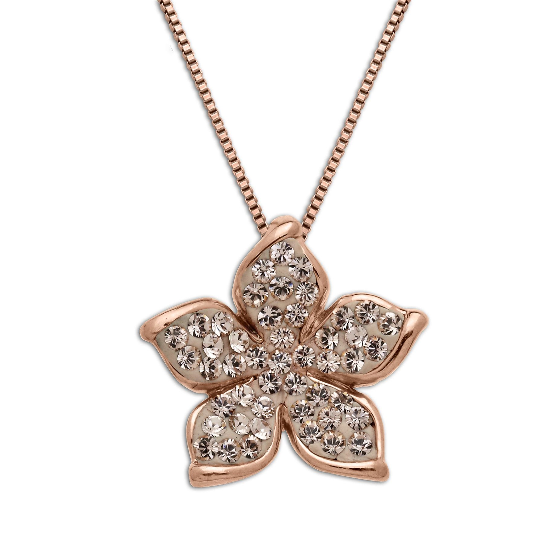 cm santorini follie pendant folli crystal flower gold en hires rose stone center plated