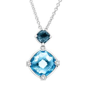 4 3/8 ct Swiss & London Blue Topaz Pendant with Diamonds
