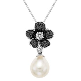 1/5 ct Black & White Diamond Pearl Flower Pendant