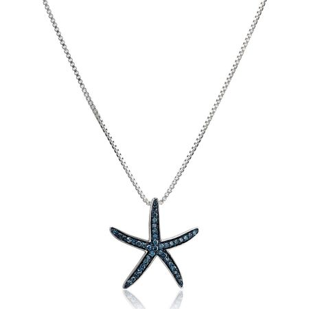 1/5 ct Blue Diamond Starfish Pendant