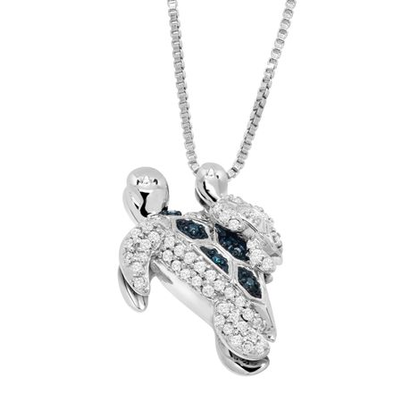 15 ct teal white diamond mother baby turtle pendant in sterling 15 ct teal white diamond mother baby turtle pendant mozeypictures Image collections