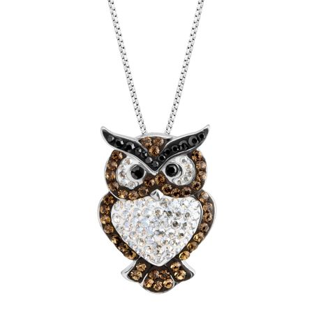 Crystaluxe owl pendant with swarovski crystals in sterling silver owl pendant with swarovski crystals mozeypictures Image collections