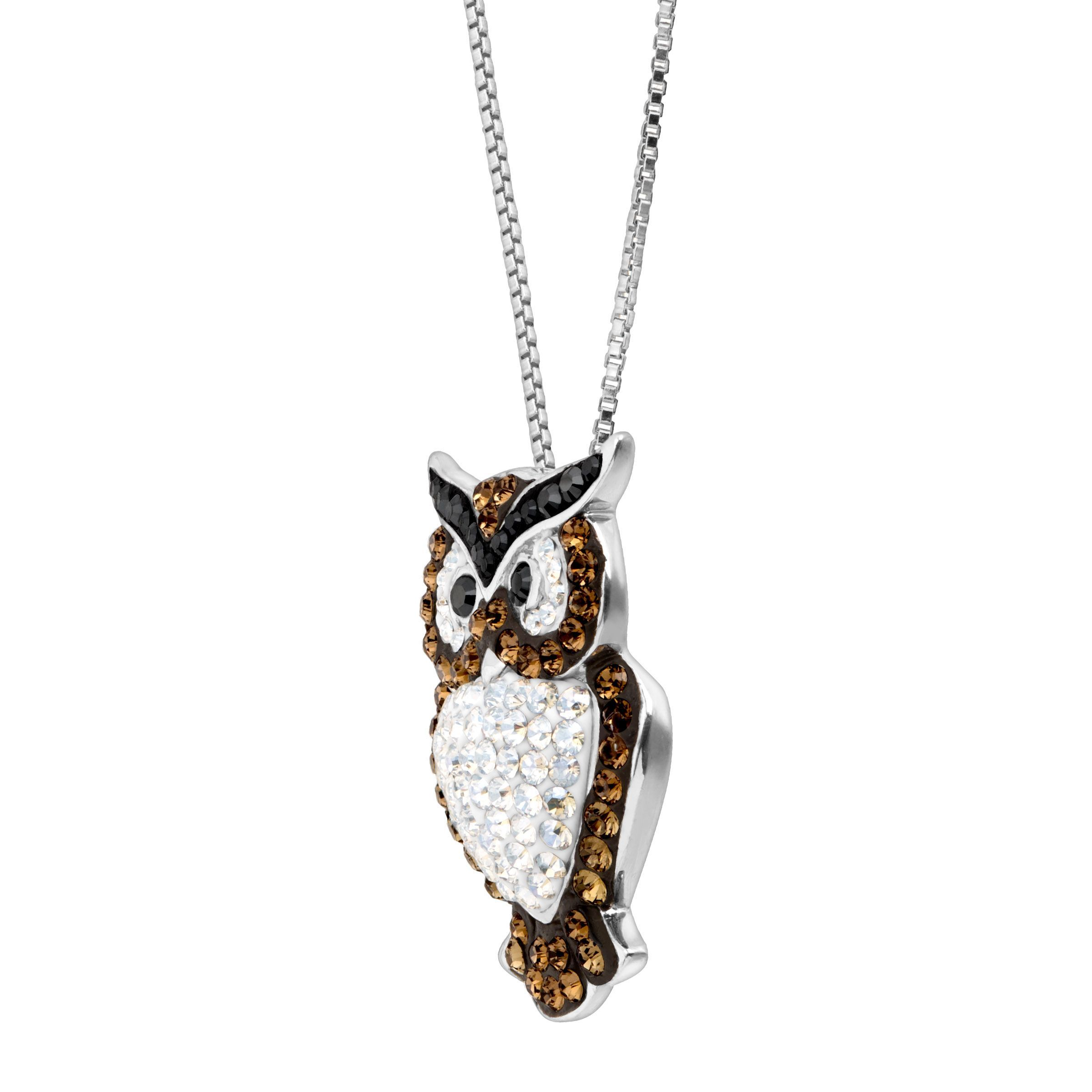 91f77a4820567 Details about Crystaluxe Owl Pendant with Swarovski Crystals in Sterling  Silver