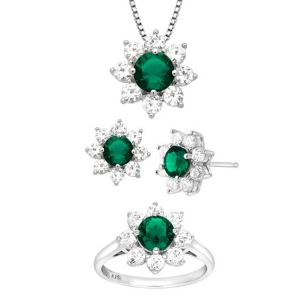 1 7//8 ct Created Emerald /& White Sapphire Flower Pendant in Sterling Silver