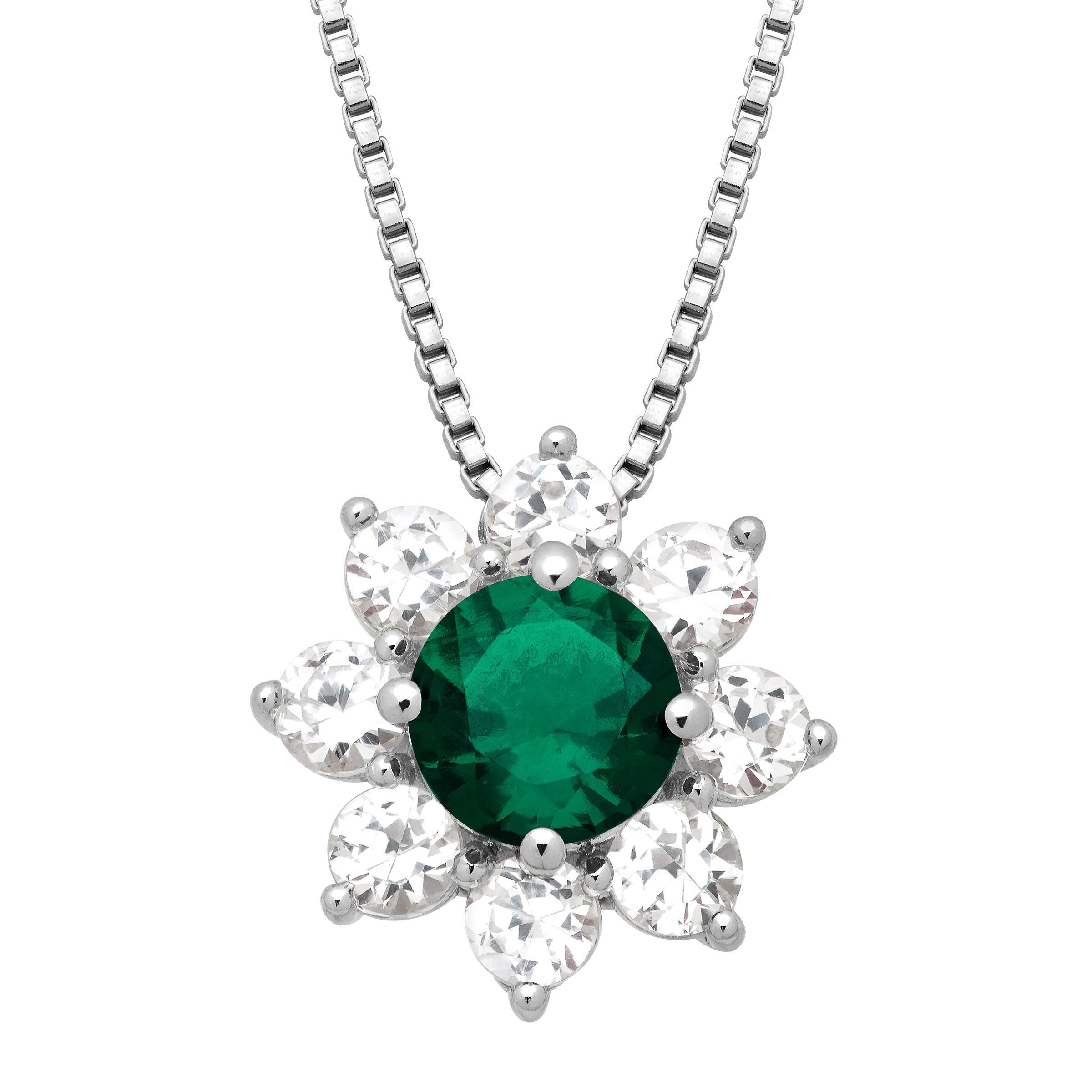 gold carat stone three with in pendant chain tw jp pin emerald