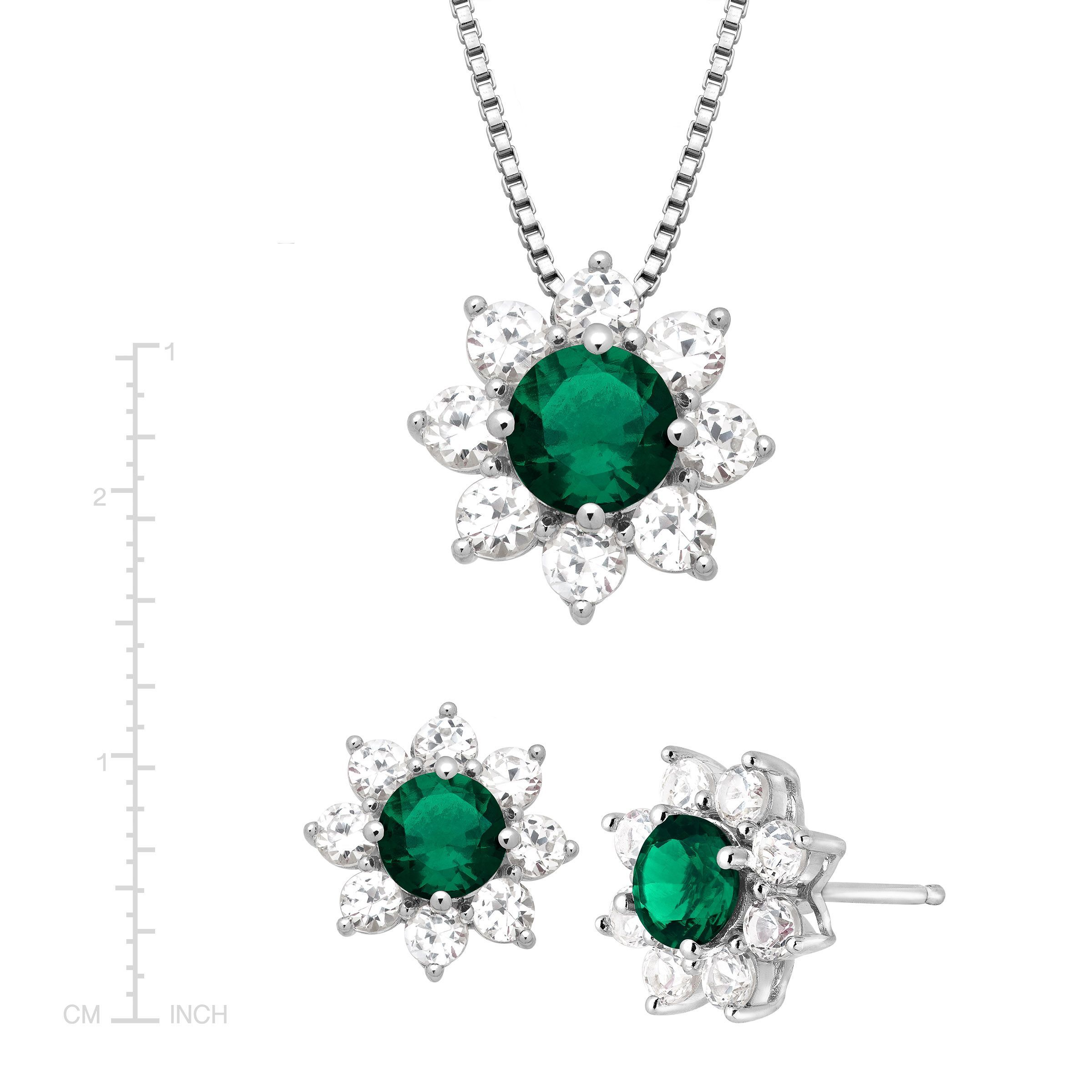 5 7 8 Ct Created Emerald White Shire Flower Pendant Ring Earring Set Silver